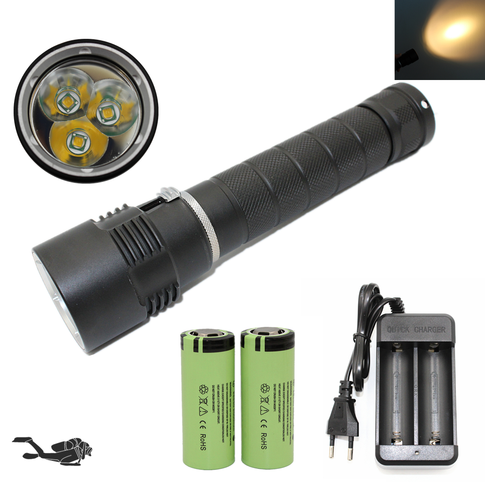 Underwater Hunting Light White/Yellow Lights Diving Flashlight Waterproof Lamp Portable Fishing Torch + 26650 Battery + Charger waterproof ultraviolet diving light 3x uv led lamp diving flashlight scuba torch dive lanterna pcb 26650 battery eu charger