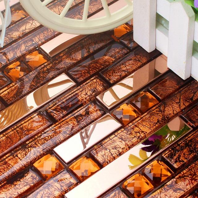 Rosso In Acciaio Inox Mattonelle Di Mosaico Di Vetro HMGM1083D Backsplash  Mosaico Di Vetro Di Cristallo