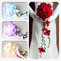 Ramos De Novia Artificial Waterfall Wedding Flowers Bridal Bouquet Red Blue Milk White Brooch Bouquets Bridesmaid Bouquets 2016