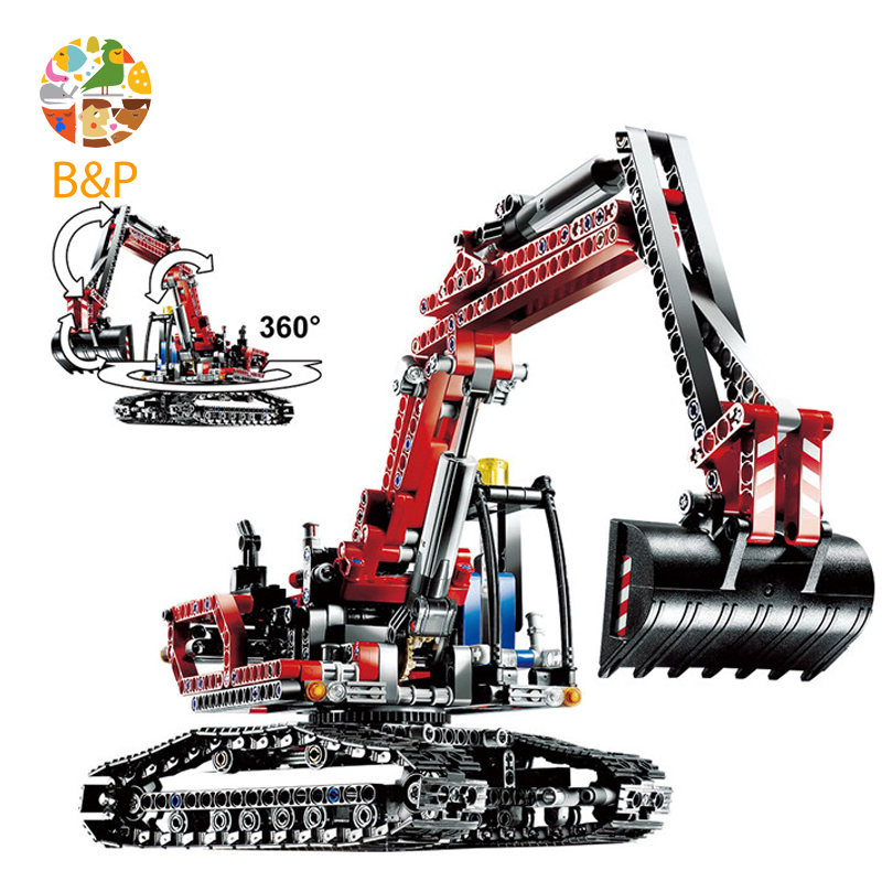 lepin Legoing 8294 760Pcs Technic Series The Red Engineering Excavator Building Blocks Bricks Gifts Toys compatible 20025 lepin 20025 760pcs technic the red engineering excavator set building blocks bricks model toys christmas gifts compatible 8294