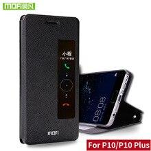 P10 P10 más caso Mofi Para Huawei para huawei cubierta de la caja de silicio del tirón ventana de cuero a prueba de golpes 360 para Huawei P10 Más caso capa