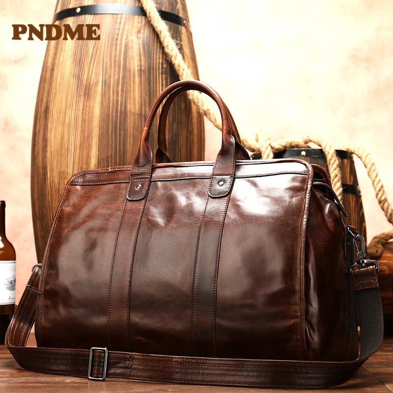 Head layer cowhide vintage men's bag outside business trip large capacity travelling bag soft leather solid color duffel bag