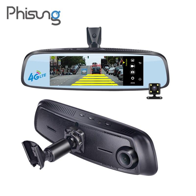 Phisung E09 7.84 4G Spécial support camera de voiture Miroir Android GPS DVR avec deux caméras WIFI dash cam ADAS à distance enregistreur vidéo