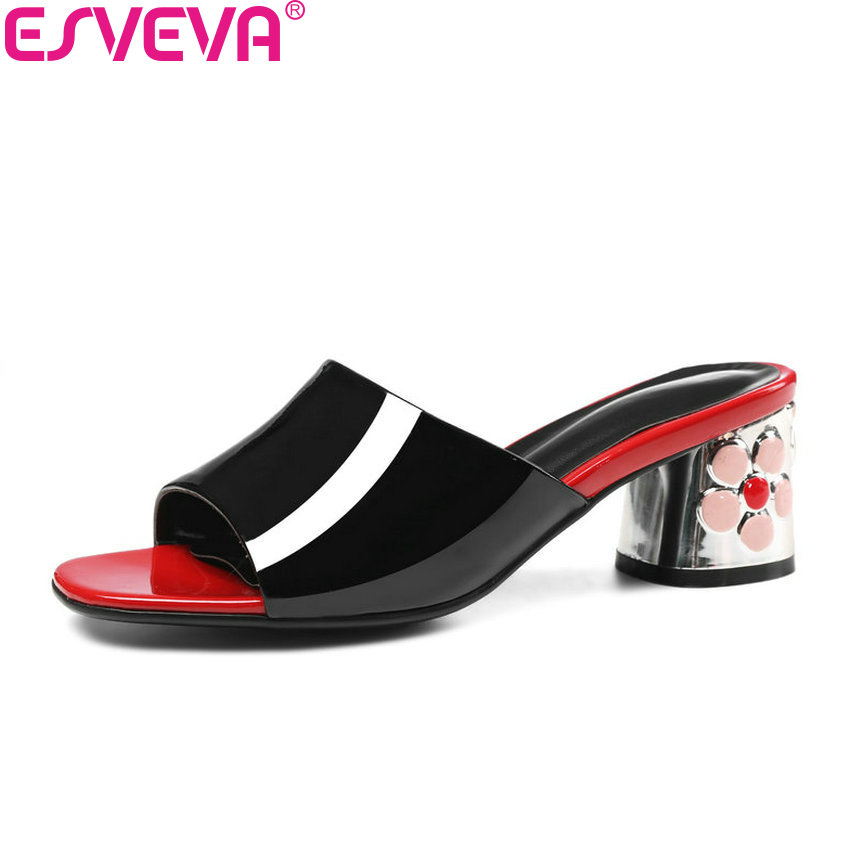 ESVEVA/2018 г. квадратный носок женские босоножки квадратный туфли на высоком каблуке из коровьей кожи из искусственной кожи без шнуровки на мел...