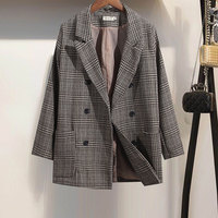 2018Blazer Feminino Ladies Blazer Suit Jacket Female Retro New Spring Long Sleeve One Button Suit Blazer Women Blaser Mujer Grey