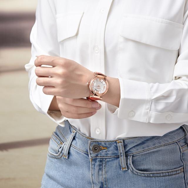 DOM Brand Luxury Ladies Fashion Casual Quartz Wristwatch With Leather Strap