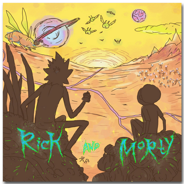 Rick and Morty Anime Art Silk Fabric Poster Print 16×16 24x24inch Cartoon Picture for Living Room Wall Decoration Gift 013
