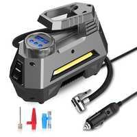 Gonfleur de pneu de compresseur d'air Portable-pompe à pneus de voiture avec manomètre numérique (150 Psi 12V cc), lampe de poche d'urgence lumineuse
