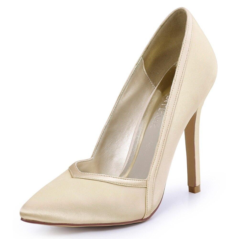 HC1603 Women Bride Pumps Burgundy Pink Pointed Toe High Heel Slip on Satin Flower Clips Wedding Bridal Court Evening Dress Shoes