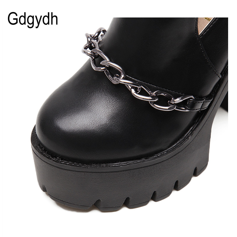 Gdgydh Printemps Automne Mode bottines Pour hauts talons femmes décontracté découpes Boucle Bout Rond Chaîne Épais Talons chaussures à semelles compensées - 4
