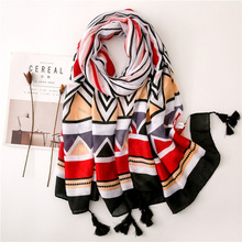 2019 Indian Style Striped Womens Scarves Luxury Brand Summer Scarf Designer cotton Ladies Shawl for Blanket poncho