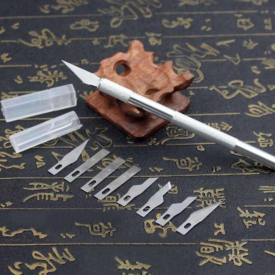9pcs Metal Handle Scalpel, Blade Knife Wood Paper Cutter Craft Pen Knives,Engraving DIY Hand Tools
