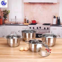 Steel soup pot stew non-magnetic hot pots thickened steamer household stainless steel double bottom