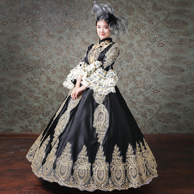 ea72de681b46 Aliexpress.com : Buy 2019 Autumn Winter Black and Blue Stage Party Dress  Medieval Marie Antoinette Gold Appliques Ball Gowns Theater Costumes from  Reliable ...
