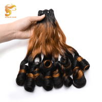 AOSUN HAIR 3 Tone Ombre Brazilian Bouncy Curly Double Drawn Hair Weave 1/3PCS Fumi Spring Curl Remy Human Hair Extensions