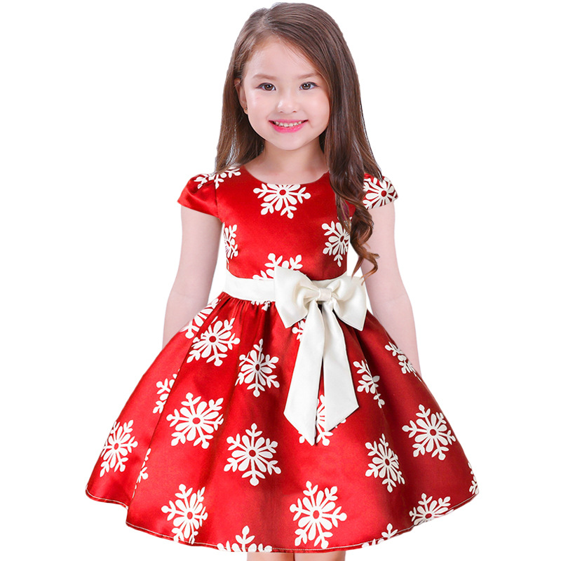 Children Girls Red Christmas Party Dress Infant Snowflake Printed Princess New Year Costume Tulle Ball Gown Dresses Kids Clothes new cinderella princess girl dress kids christmas dresses costume for girls party crown necklace fantasia dress kids clothes
