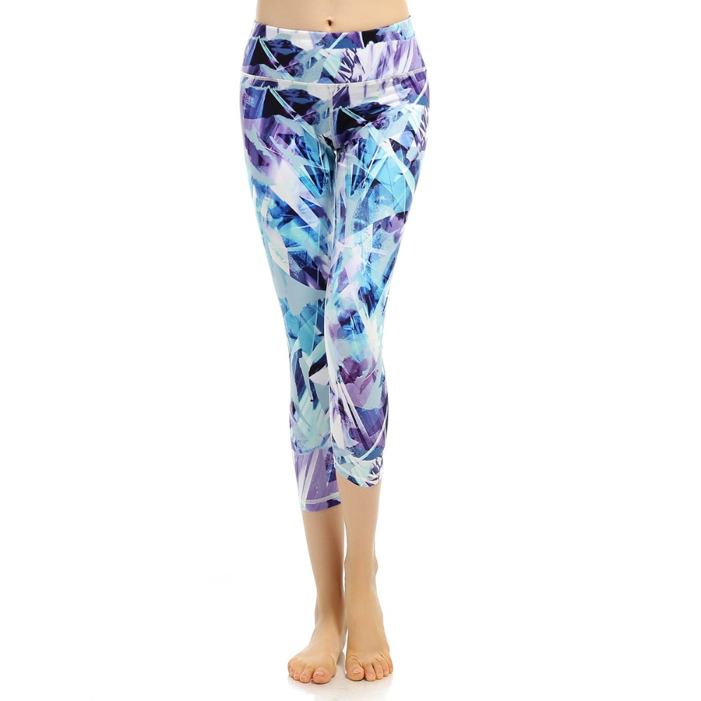 Women Yoga Legging 2018 New Patchwork Digital Printed Leggings Blue Fitness High Waist Yoga Pants Sports Stretch Slim Trousers viking 913310 genuine leather chamois 3 square feet