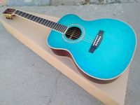 free shipping Byron Elite limited guitar 40 Acoustic Guitar solid Spruce top ebony wood fingerboard satin blue color guitar