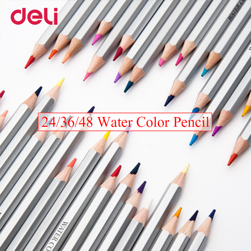 Deli professional 24/36/48 color watercolor pencil set for drawing school office art supply brand stationery wood colored pencil cute lovely color pencil drawing tutorial art book