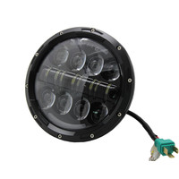 7 Inch Super Bright Motorcycle Round Black DOT E9 LED Headlight 80w hi/low beam for Harley motorcycle and offroad wrangler JK