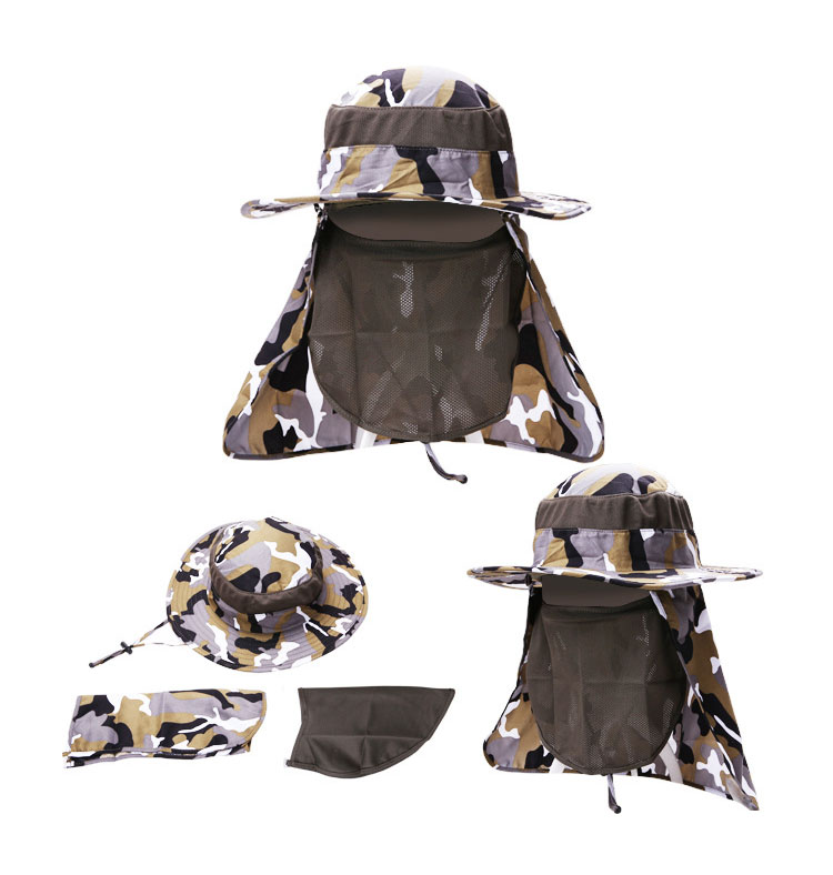 [AETRENDS] 17 New Detachable Camouflage Bucket Hat Neck Protection Summer Cap Windproof Anti-mosquito Fishing Hats Z-5160 5