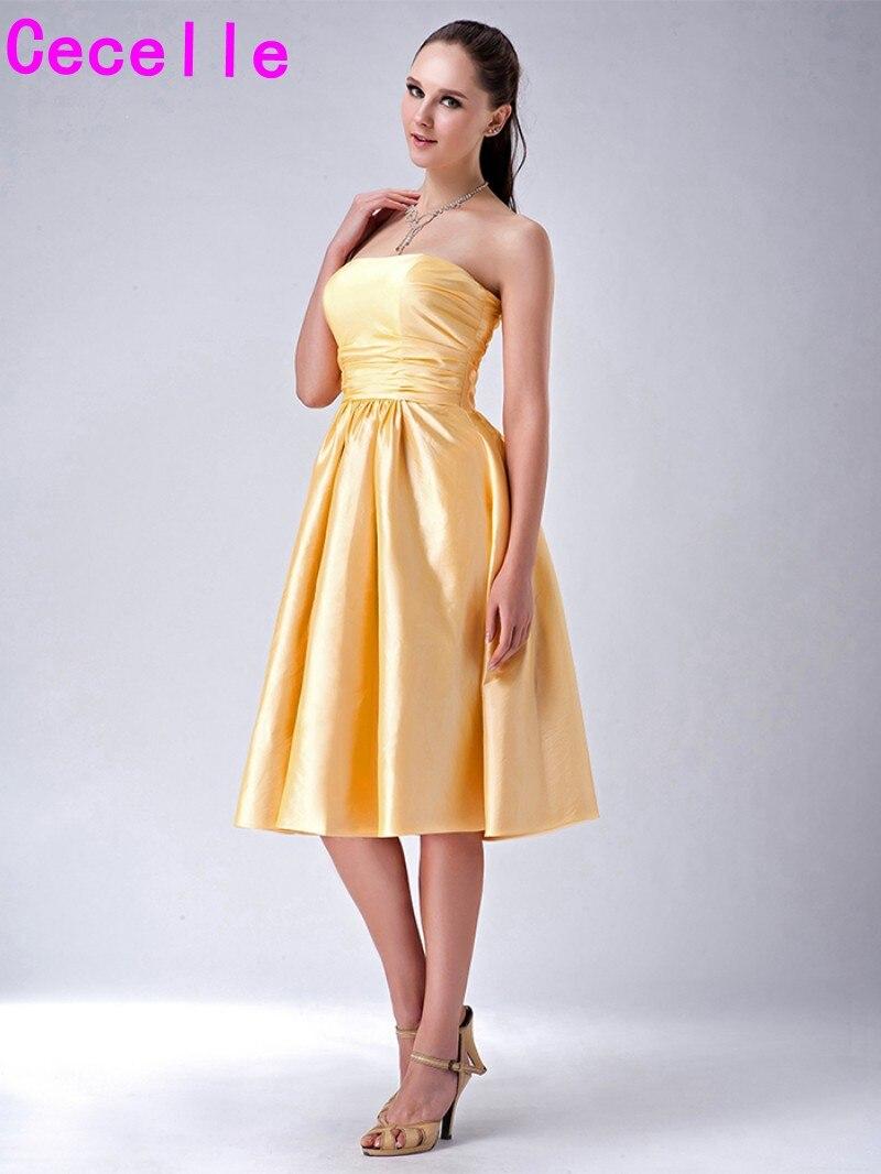 Groß Gelb Vintage Kleider Brautjungfer Zeitgenössisch - Brautkleider ...