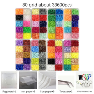 Mini 2.6 Hama Beads 80 Colors kits perler PUPUKOU Beads Tool and template Education Toy Fuse Bead Jigsaw Puzzle 3D For Children(China)