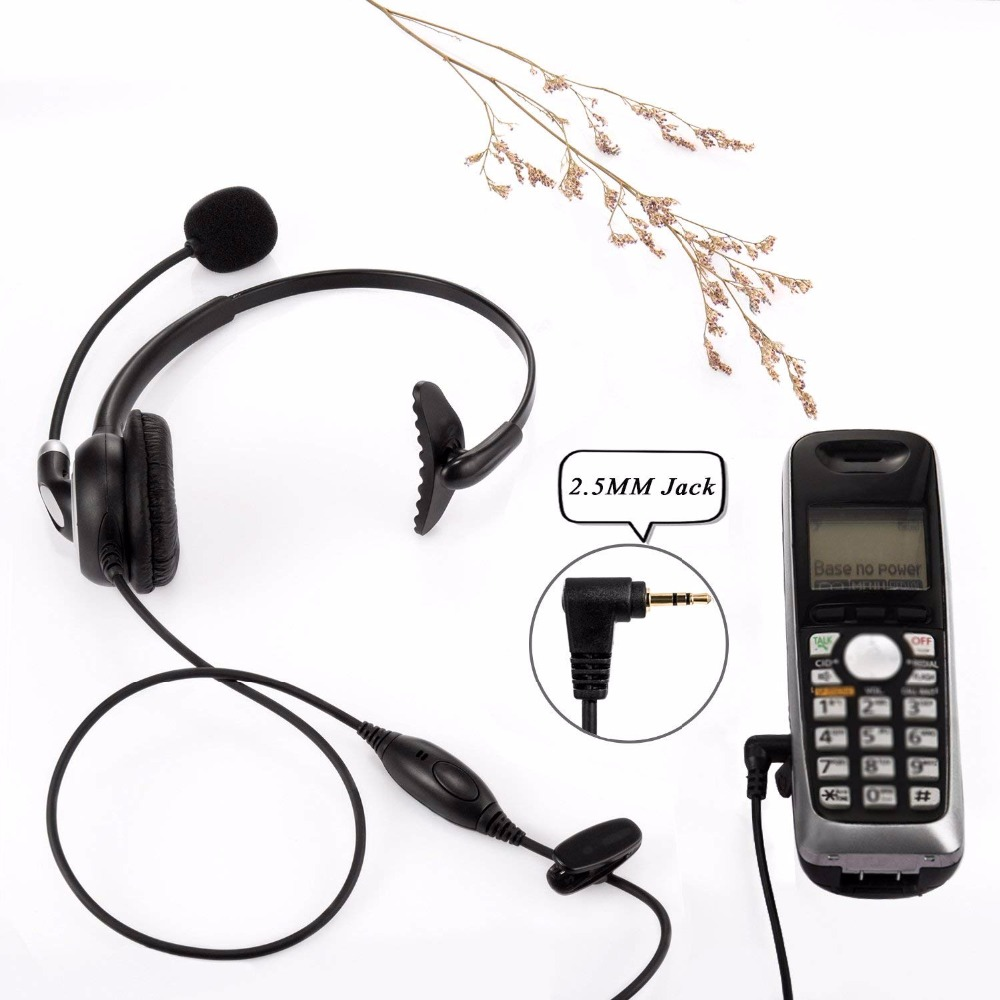 Wantek Arama Mic Headphones Wired Telephone Headset For Panasonic Cordless Phones With 2 5mm Jack Plus Many Other Dect Phones Aliexpress