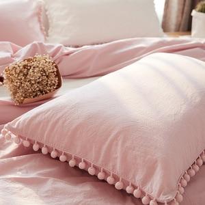 Image 2 - Lovinsun لطيف الوردي الأميرة الفراش مجموعات مع غسلها الكرة النسيج الملكة الملك حاف الغطاء المخدة مريحة cc44 #