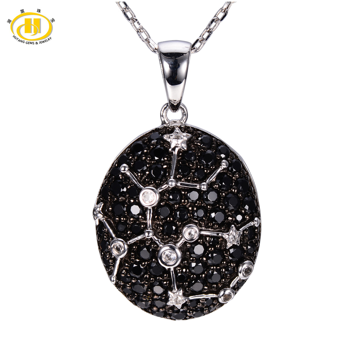 Hutang 12 Constellation Necklace Sagittarius Zodiac Black Spinel Topaz Gemstone Necklaces & Pendants Silver 925 Jewelry Gift