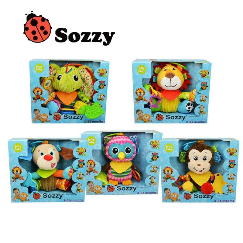 Купить с кэшбэком Plush baby toys Designs Multi Function Baby Rattle Bell Infant Baby Crib Stroller Hanging Toy Authorized Authentic SOZZY