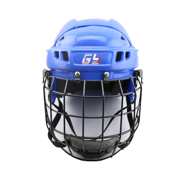 GY CE certification  Blue/Red/White/Black/Yellow  Ice hockey helmet with full mask gy sports pp outshell comfortable epp liner ice hockey helmet head protector hockey equipment with face mask for sale