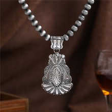 2016 New Antique Silver Necklaces & Pendants vintage Jewelry For Women colares Gray African Beads Chain