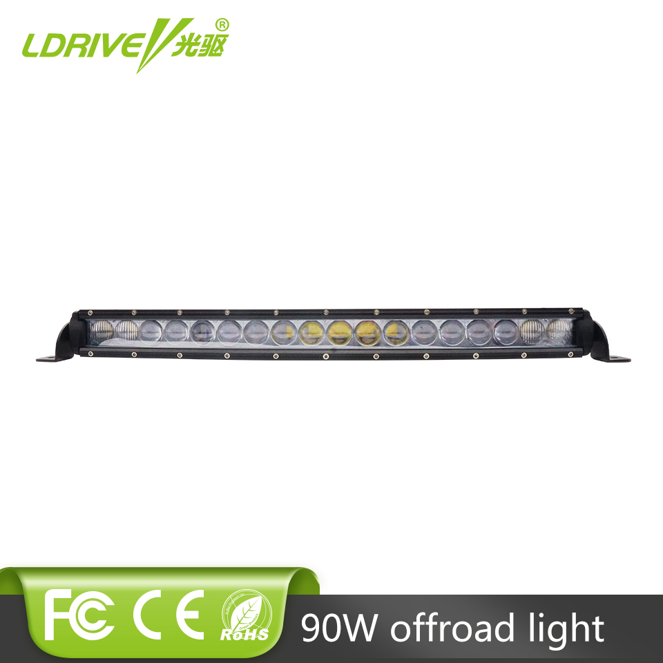 LDRIVE New 4D 90W Curved LED Off Road Light Bar Single Row LED Bar Driving Work Light Offroad 4X4 6000K Headlight Auto Fog Light 43inch led light bar 200w single row led work light combo offroad 4x4 led bar light car fog driving lamp for ford f150 f250 f350
