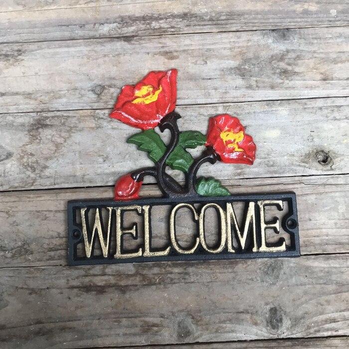 Une paire de Lovebirds bienvenue signe Greeter pieu de jardin en fonte par cadeaux & décor - 2