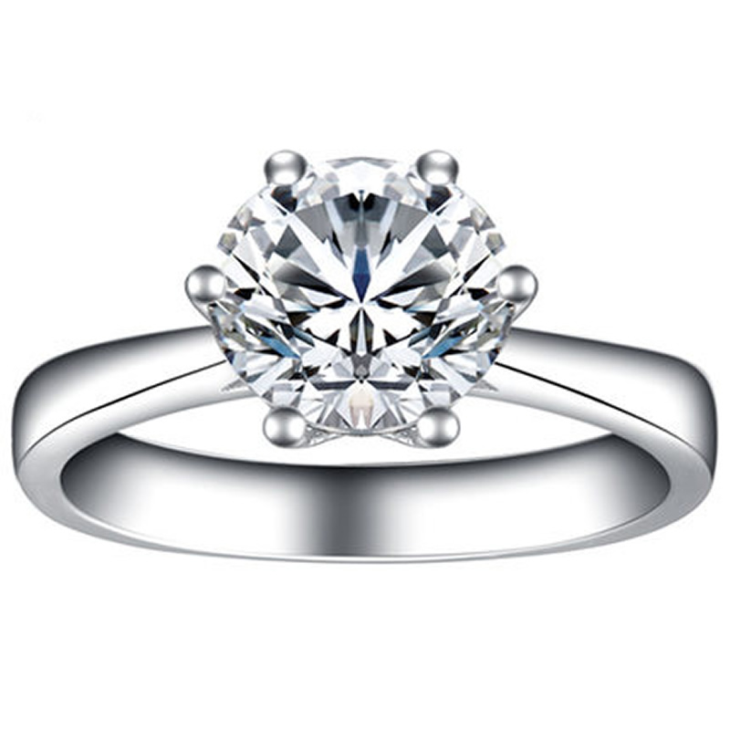 ANI 18K White Gold (AU750) 0.3 CT Certified I-J/SI Round Cut Diamond Engagement Women Ring Classic 6 Claw Solitaire Diamond Ring