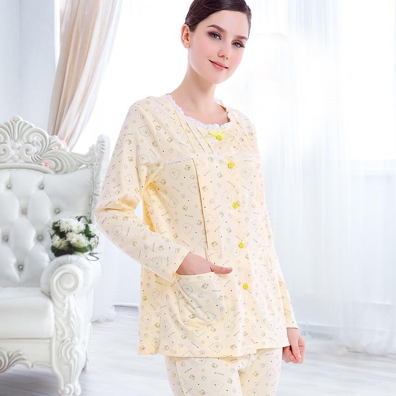 2017 New Maternity Sleepwear Set Breastfeeding Clothes Nursing Cotton Sleepwear Pregnant Women Nightgown Women Lounge Clothing