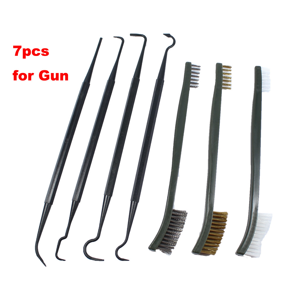 3pcs Steel Wire Brush + 4pcs Nylon Pick Set Universal Gun Cleaning Kit Tactical Gun Accessories Hunting Rifle Cleaning Tool