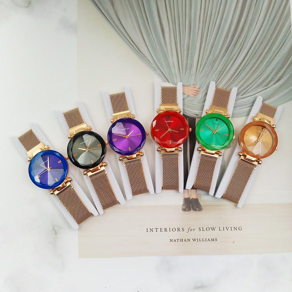 Fashion Color Watch Women Digital Dial Steel Mesh Magnet Strap Quartz Analog Wrist Watches zegarek damski relogio feminino NEW 6