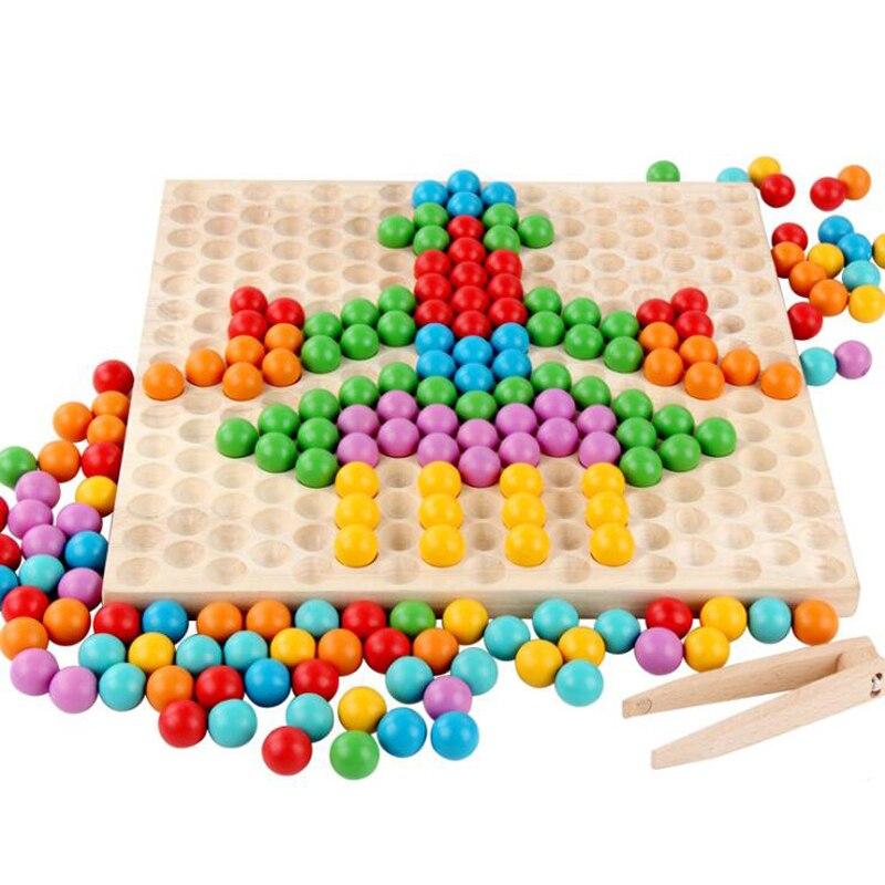 Nouveau début jouets éducatifs en bois Puzzle arc-en-ciel multicolore jouet parent-enfant jeu interactif maternelle matériel d'enseignement