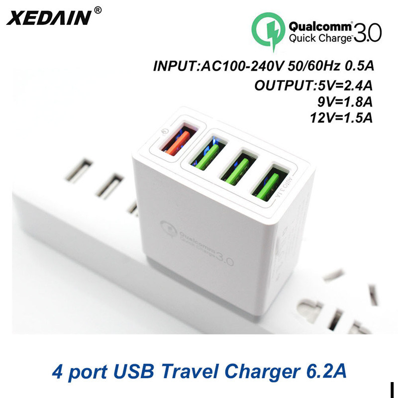 Disciplined Xedain High Quality Eu/us Plug 4 Port Usb Quick Charger Qc 3.0 Phone Fast Usb Charger For Iphone Samsung Huawei Xiaomi Sony Oppo Skillful Manufacture Cellphones & Telecommunications