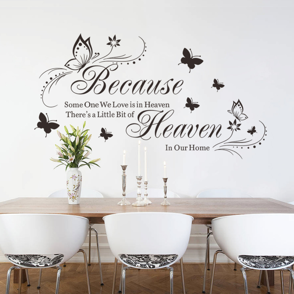 Heaven In Our Heaven Quotes Vinyl Butterfly Flowers Wall