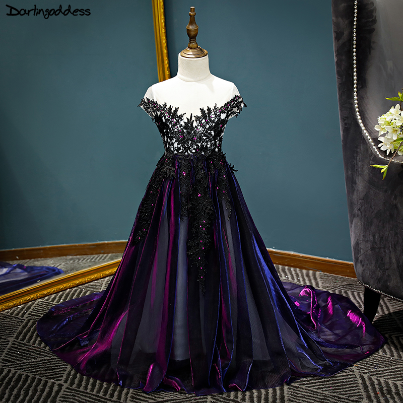 Luxury Purple Lace Flower Girl Dresses 2018 Short Sleeve Pageant Dresses for Girls First Communion Dresses Kids Evening Gowns