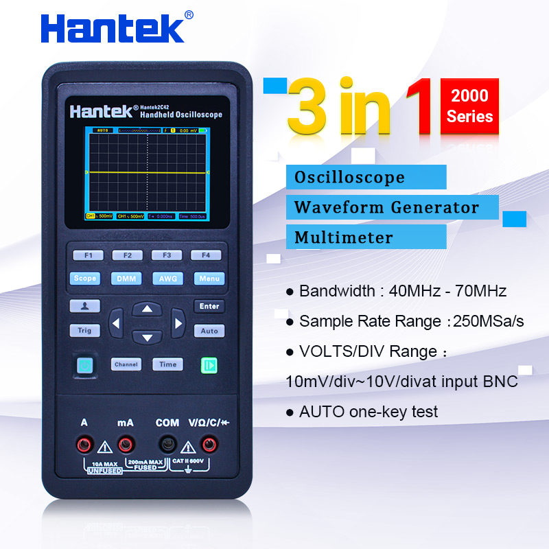 <font><b>Hantek</b></font> digital <font><b>Oscilloscope</b></font> multimeter +Waveform Generator 3 in 1 handheld <font><b>oscilloscope</b></font> automotive 2 Channels <font><b>40mhz</b></font> 70mhz LCD image