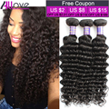 8A Brazilian Deep Wave Virgin Hair 4 Bundles 100% Brazilian Human Hair Weave Cheap Brazilian Curly Virgin Hair Deep Wave