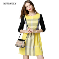 BURDULLY Plaid Striped Patchwork Black And Yellow Dress Summer 2017 Casual Luxury Brand Dresses Loose Cotton