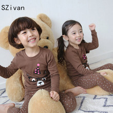 SZivan Children Pajamas  kid girls Infantil Sleepwear 2pcs set  long sleeve shirts+pants boys Clothing suits