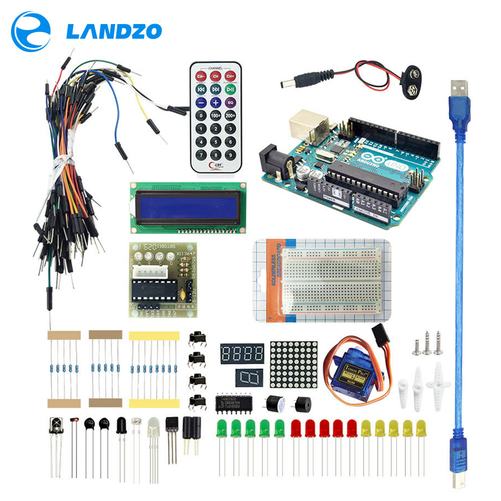 Arduino Starter Kit для оригинальными arduino uno-Uno R3 Макет/arduino датчика/1602 ЖК-дисплей/джемпер провод/UNO R3/резистор
