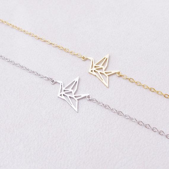 Jisensp New Fashion Trendy Origami Crane Cuff Bracelets for Women Tiny Animal Link Chain Alloy Women Bracelets B021