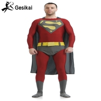 Superman Lycra Spandex Costume High Quality And High Elastic Zentai Gray Cloak Cosplay Paties Bodysuit